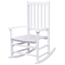 Solid Wood Rocking Chair Rocker Porch Indoor Outdoor Patio Furniture White New