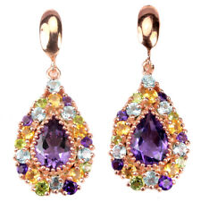 REAL MULTI COLOR AMETHYST, TOPAZ, PERIDOT & CITRINE STERLING 925 SILVER EARRING