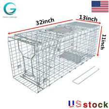 "32*13*11in"" Humane Animal Trap Steel Cage Rodent Control Skunk Possum Raccoon"
