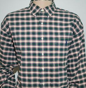 RALPH LAUREN POLO L/S Big Shirt Plaid XL Checkered Multicolored Green Base