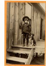 Real Photo Postcard RPPC - Boy Dressed as Buster Brown with Dog