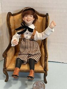 Vintage Artisan JOAN BLACKWOOD Happy Little Lad Dollhouse Doll Miniature 1:12