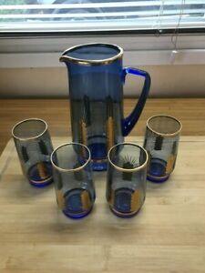 Glaskaraffe mit 4 Gläser aus Sowjet. Zeiten