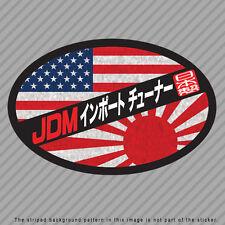 JDM Import Tuner Decal Sticker Japan USA America Flag Rising Sun Kanji P046_01