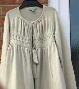 Hoss Intropia Ladies Beige Large fine knit Pure Wool Cardigan tie front soft