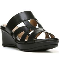 Naturalizer Women's Vanity Wedge Sandals Size 4 Black Leather Retail $79