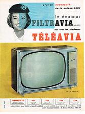 PUBLICITE ADVERTISING  1960   TELEAVIA    FILTRAVIA  téléviseur