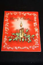 Vintage Christmas Card Candle With Holly Merry Christmas   b