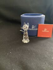 Swarovski Crystal Standing Cat with Silver Whiskers and Flexible Tail New W/ Coa