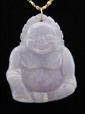 14k Gold Genuine Natural Lavender Jade Budda Pendant #G055