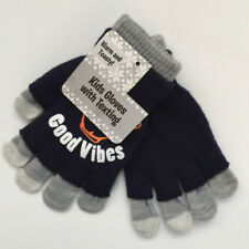 One Size Kids Gloves With Texting Good Vibes Blue Gray Warm and Toasty Acrylic
