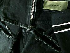 *HOT Men FEAR of GOD 4th COLLECTION Slim SKINNY SELVEDGE DISTRESS BLACK Jeans 34
