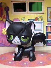 Littlest Pet Shop Lps Black Angora Long Hair Cat #55 Green Eyes Tuxedo Authentic