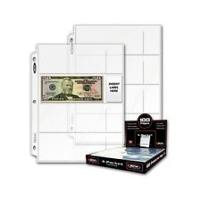 10 - 2 3/4 x 6 3/4 Currency Dollar Page Protector 4 pockets per page  BCW Pro4C