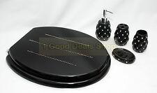 Black Wooden MDF Toilet Seat Chrome Hinge + 4pc Bathroom Accessory Matching Set