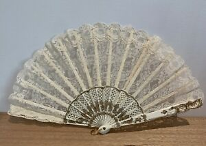Vintage Hand Fold Up Fan Lace - Gold & Ivory Colour - In Box