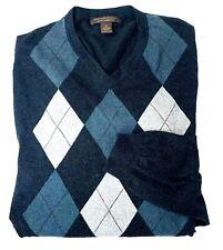 Sebastian Cooper Men Sweater Cashmere Cotton Argyle Long Sleeve Charcoal Gray XL