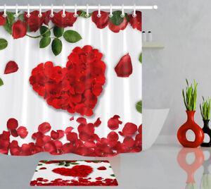 Valentine's Day Red Rose Petals Heart Pattern Shower Curtain Set Bathroom Decor