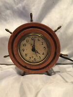 Vintage Plymouth Wood And Brass Nautical Marine Ship Captain's Wheel Clock