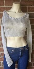 Juicy Couture Metallic Silver Cropped Midriff Long Sleeve Knit Sweater Petite