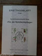 ALLEMAGNE BERLIN, 1984, FDC, FLEURS, SERIE TP 685/688, DOCUMENT 1° JOUR FLOWERS
