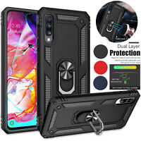 For Samsung Galaxy A70 Military Metal Magnetic Ring Case Cover +Screen Protector