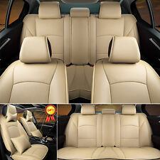 Beige PU Leather Seat Cover Fit For Ford F-150 2010-2016 Front+Rear Full Set
