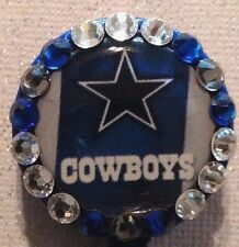 Nfl Dallas Cowboys Badge Id Reel Designer Crystals Blue Alligator clip Handmade