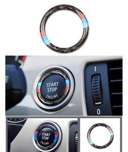 BMW E90 E92 F30 Carbon Fiber Car Engine Start Stop Ignition Key Ring M Sport Car
