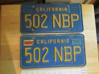 Collectible Vintage California Blue Plate License Plates 502 NBP Front Rear VGC