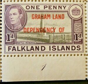 FALKLAND ISLANDS/ GRAHAM LAND 1944-45 SG A2 KGVI 1d. BLACK AND VIOLET  -  MNH