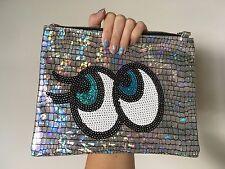 Big Eyes Hologram Silver Mirror Sequin Soft Clutch Handbag Purse