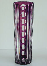 VAL SAINT LAMBERT - Vase Cylindrique en Cristal Taillé Doublé Améthyste