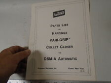 MACHINIST TOOLS LATHE MILL Hardinge Vari Grip Collet Closer DSM Parts List