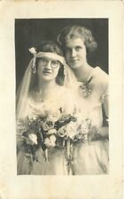 1920s Bride Maid of Honor Wedding Day RPPC Real Photo postcard 2205