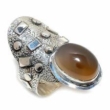 Sterling Silver Ring Size 7 Montana Agate Gemstone Handmade 925