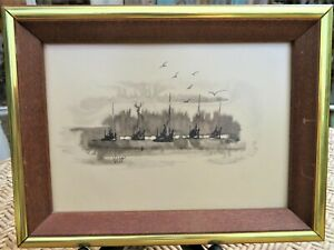 "Pen & Ink Drawing By Wiveca Rubinow Swedish /CA artist ""Fishing Fleet"" 1960s"