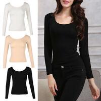Women's Elastic Tshirt Thermal Underwear Top Long Johns Shirts Scoop Neck