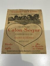 Chateau Calon-Segur 1961 Vintage Wine Label Collectable Excellent Condition