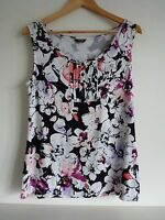 Ladies Lovely Moda George Black & White Mix Floral Sleeveless Top Size 14, Vvgc