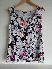 Ladies Lovely Moda George Black & White Mix Floral Sleeveless Top Size 14, Vvgc