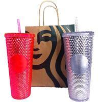 Starbucks 2019 Venti Bling Iridescent Pink & Platinum Studded Cold Cup Tumbler