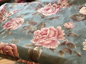 Green and pink cabbage rose decorator fabric 54 wide 4 yards available