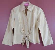 TB05148-NEW TALBOTS Womens Silk Formal Crop Blouse Front Tie Decor Gold Yellow 4