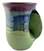 Clay in Motion handwarmer mug coffee mug right handed Mossy Creek pottery