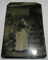 "Vintage 4 3/8"" X 6 11/16"" Tintype photo of Woman"