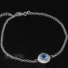 Elegant 18ct White Gold Filled Round Blue Topaz Clear Zirconia Bracelet UK  -181