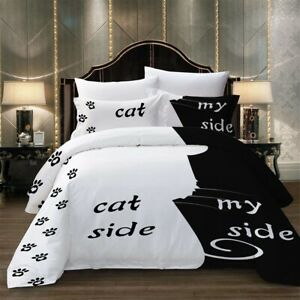 Gift Funny Cat Side My Side Paws Cat Lovers Bedding Duvet Cover Set+Pillow Case