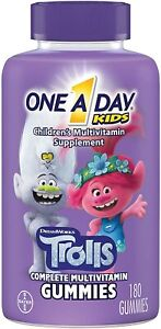 One A Day Kids Trolls Multivitamin Gummy, 180 Count, with Vitamins A, B6,...