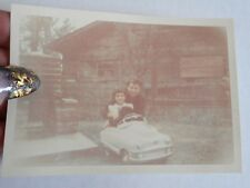 Vintage Photo Girl In Peddle Car With Woman